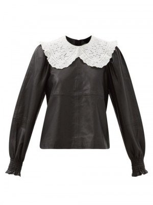 Matchesfashion Sea - Loretta Broderie-anglaise Collar Leather Blouse - Womens - Black