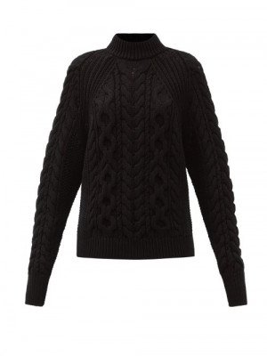 Matchesfashion Cecilie Bahnsen - Frederica Open-back Cable-knit Cotton Sweater - Womens - Black