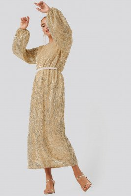NA-KD Party NA-KD Party Open Back Sequin Dress - Gold