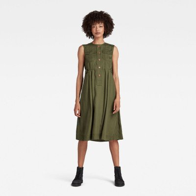 G-Star RAW Fit And Flare Jurk - Groen - Dames