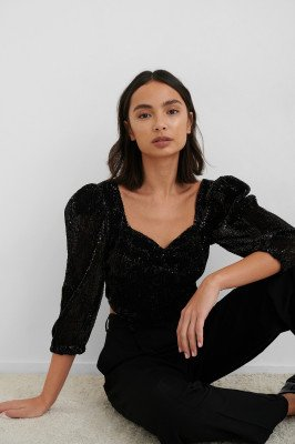 NA-KD Party NA-KD Party Puff Shoulder Sequin Top - Black
