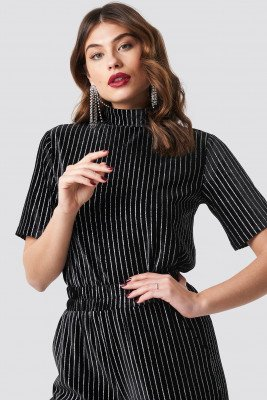 NA-KD Party Striped Glittery Velvet Top - Black