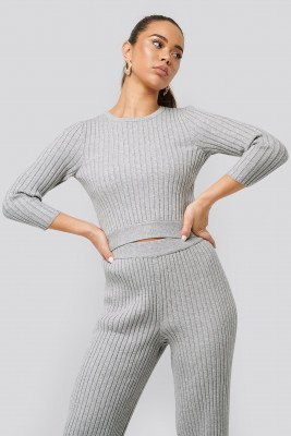 NA-KD NA-KD Round Neck Ribbed Knitted Sweater - Grey