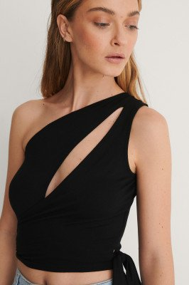 Curated Styles Curated Styles Crop Top Met Strikdetail - Black
