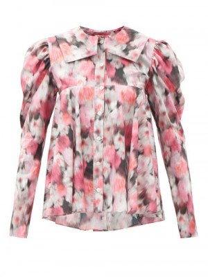 Matchesfashion Matty Bovan - Dolly Balloon-sleeves Floral-print Blouse - Womens - Pink Multi