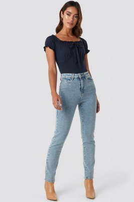 Trendyol High Waist Relaxed Mom Jeans - Blue