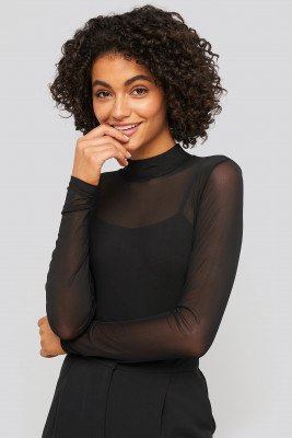 NA-KD Party NA-KD Party Lined Mesh Polo Body - Black