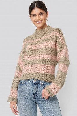NA-KD Trend Striped Round Neck Oversized Knitted Sweater - Pink,Beige