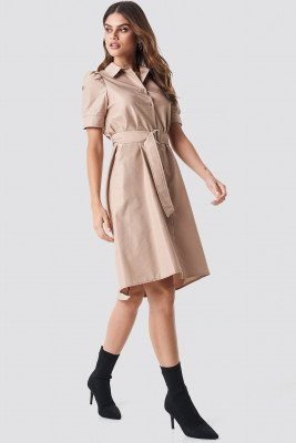 NA-KD Trend NA-KD Trend Belted Shirt Dress - Beige