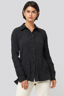 NA-KD Classic Creased Effect Blouse - Black