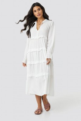 Trendyol Trendyol Viscose Ruffle Detail Long Dress - White
