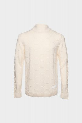 BALR. Knitted Hexagon Sweater Ivory