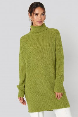 NA-KD NA-KD Oversized Roll Neck Sweater - Green