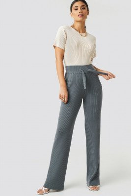 XLE the Label XLE the Label Greg Rib Knitted Pants - Grey