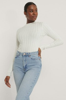 NA-KD NA-KD Ribbed High Neck Knitted Sweater - White