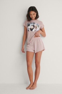Curated Styles Curated Styles Short Met Ruches - Pink