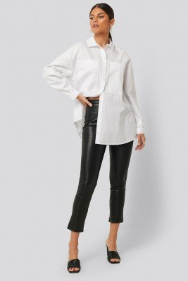 NA-KD Zip Detail PU Pants - Black