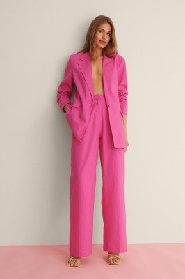 Curated Styles Curated Styles Linnenmix Pantalon - Pink