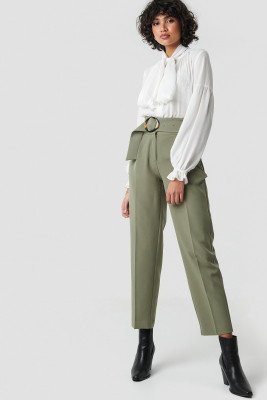 NA-KD Classic NA-KD Classic Asymmetric Belted Suit Pants - Green