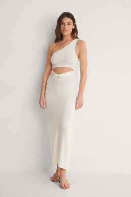 NA-KD Trend NA-KD Trend Jersey Jurk Met Knoopdetail - White