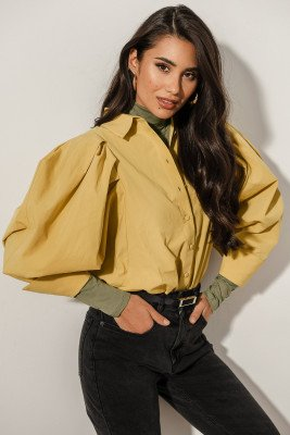 NA-KD Trend Oversized Puff Sleeve Shirt - Yellow