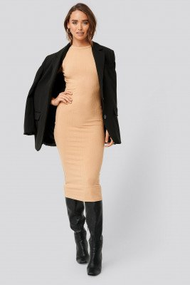 NA-KD Basic Sleeveless Ribbed Midi Dress - Beige