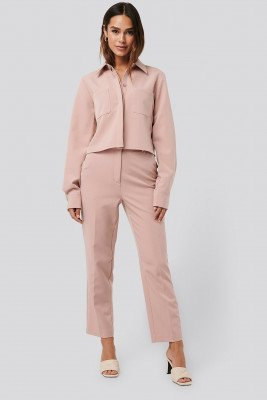 NA-KD Classic Tailored Cropped Suit Pants - Pink