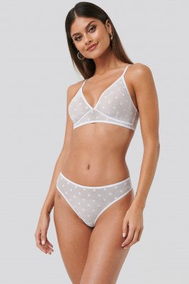NA-KD Lingerie All Over Dotted Mesh Thong - White