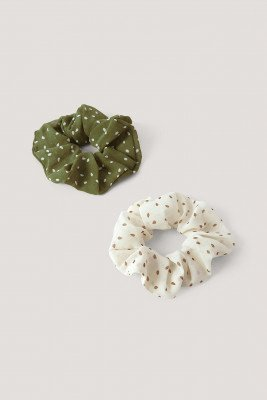 NA-KD Accessories 2-Pack Scrunchies Met Polkadots - Multicolor