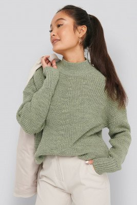 NA-KD NA-KD Stitch Detail Sweater - Green