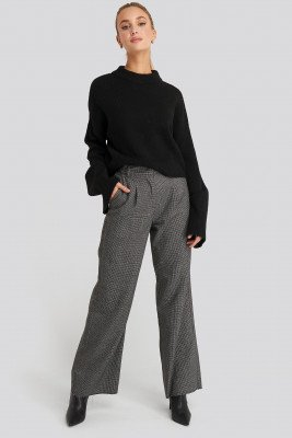 NA-KD Classic Dogtooth Raw Edge Suit Pants - Grey