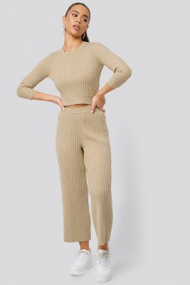 NA-KD Ribbed Knitted Culottes - Beige