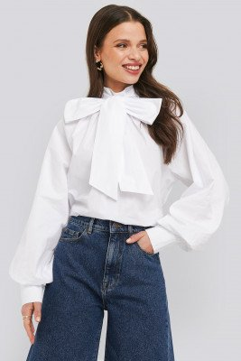 NA-KD Trend NA-KD Trend Balloon Sleeve Pussy Bow Boxy Blouse - White
