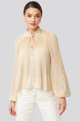 NA-KD Trend NA-KD Trend Tie Neck Pleated Blouse - Offwhite
