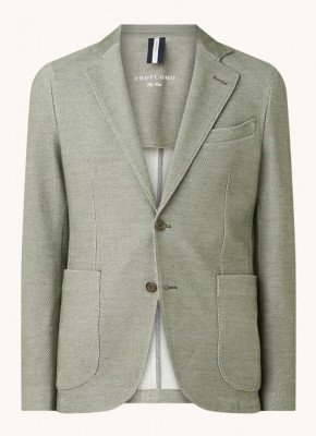 Profuomo Profuomo Slim fit knitted colbert met microdessin
