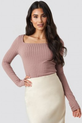 NA-KD Trend NA-KD Trend Square Neck Long Sleeve Top - Pink