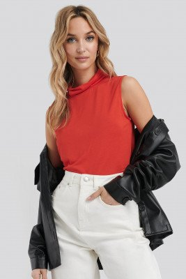 NA-KD Basic NA-KD Basic Turtle Neck Sleeveless Ribbed Jersey Top - Red