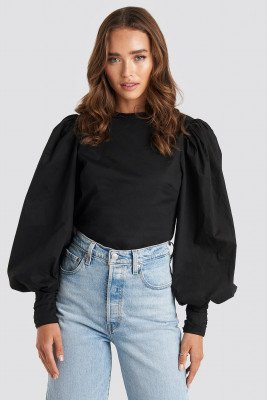 NA-KD Trend Puff Sleeve Fitted Top - Black