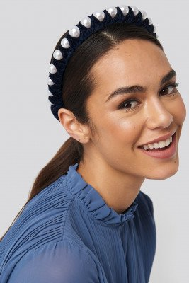 NA-KD Accessories Big Pearl Velvet Hair Hoop - Blue