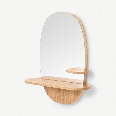 MADE.COM Wandspiegel met plank, eiken