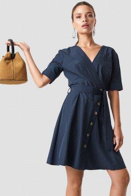 Trendyol Wrap Around Button Detailed Dress - Blue