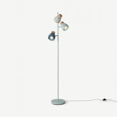 MADE.COM Albert staande lamp, witgroen, zachtgrijs en parelmoernachtblauw
