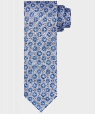 Michaelis Michaelis heren print stropdas blauw