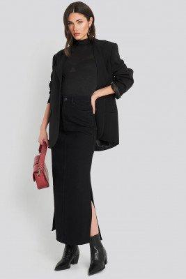 NA-KD Trend Side Split Maxi Denim Skirt - Black