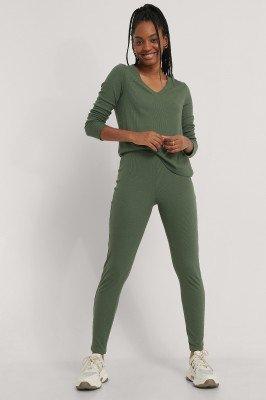 NA-KD Basic NA-KD Basic Zachte Geribde Legging Met Hoge Taille - Green