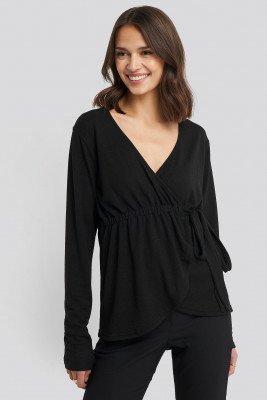 NA-KD NA-KD Overlap Light Knitted Sweater - Black