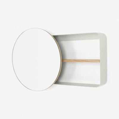MADE.COM Joris ronde spiegel en wandplank, metaal en hout, gebroken wit