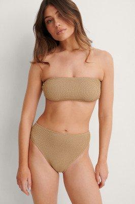NA-KD Swimwear NA-KD Swimwear Smocked High Waist Bikini Panty - Beige