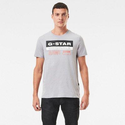 G-Star RAW Originals Label Logo Slim T-Shirt - Grijs - Heren