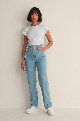 Melissa Bentsen x NA-KD Melissa Bentsen x NA-KD Rechte Gewassen Jeans - Blue